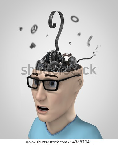 gear with question in the head - stock photo