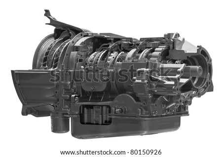 Gearbox. Crosscut of land vehicle transmission box isolated on white background. Clipping path included. - stock photo