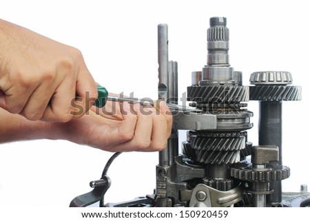 gearbox service work on isolated background - stock photo