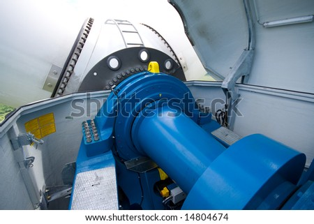 gearbox windy power station in machine - room arrangement - stock photo