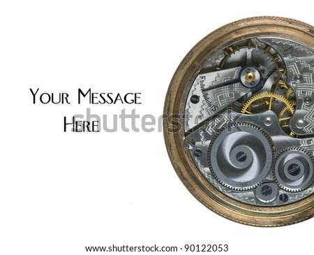 Gearing mechanism inside a 100 Year old antique pocket watch - stock photo