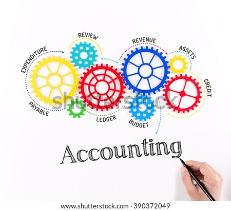 Gears and Accounting Mechanism - stock photo