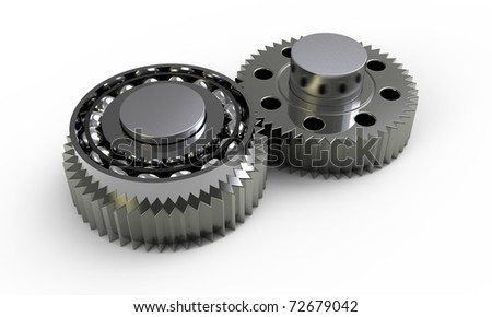 Gears and bearings on a white background