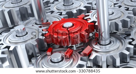 Gears and broken red gear (done in 3d) - stock photo