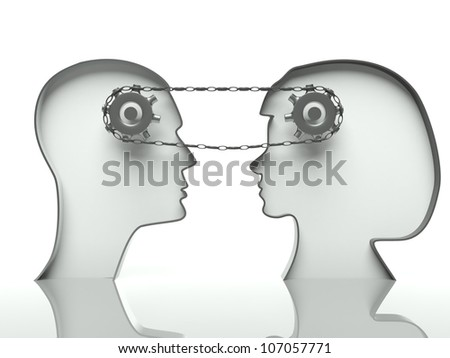 Gears and chain in heads, concept of teamwork and cooperation with communication - stock photo