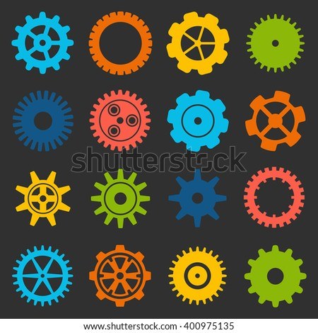 Gears and cogs icons set. Cog wheel Icon Collection. illustration of cog icons isolated on black background. - stock photo