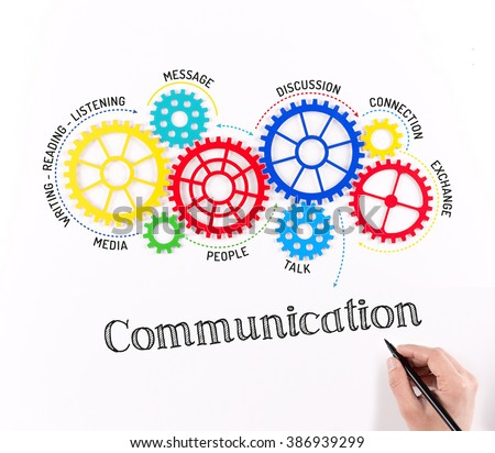 Gears and Communication Mechanism - stock photo