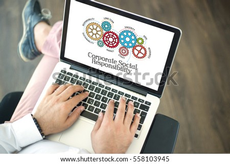 Gears and Corporate Socail Responsibility Mechanism on Laptop Screen