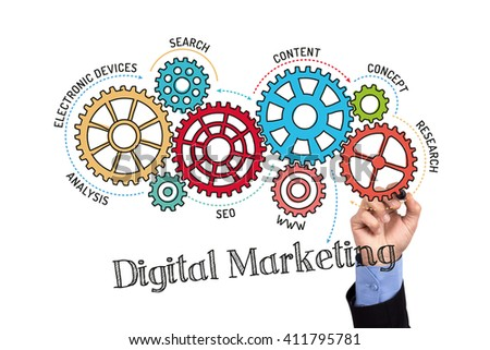 Gears and Digital Marketing Mechanism on Whiteboard - stock photo