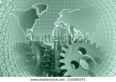 Gears and digits - abstract computer background in greens.