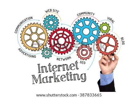 Gears and Internet Marketing Mechanism on Whiteboard - stock photo