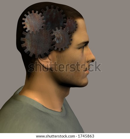 Gears and profile of models head - stock photo