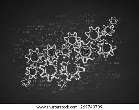 Gears and working strategy - stock photo