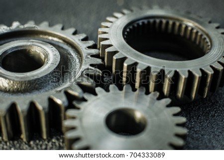 Gears auto set on the rude surface close up