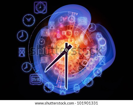 Gears, clock elements and abstract design elements arrangement suitable as a backdrop in projects on scheduling, temporal and time related processes, deadlines, progress, past, present and future - stock photo