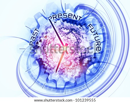 Gears, clock elements, dials and dynamic swirly lines arrangement suitable as a backdrop in projects on scheduling, temporal and time related processes, deadlines, progress, past, present and future - stock photo