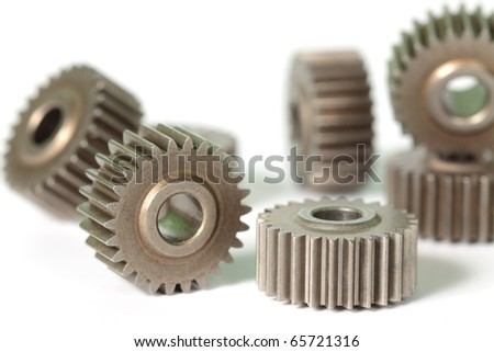 Gears. Close-up view on a white background.