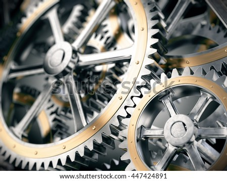 Gears cog wheels concept. 3d illustration - stock photo