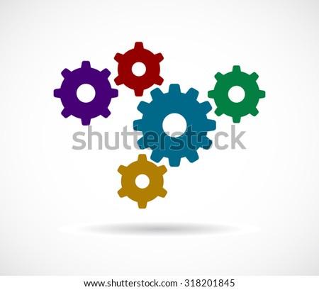 gears cogs colored teamwork design - stock photo
