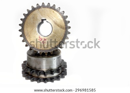 Gears cogs for industry metal on white background. - stock photo
