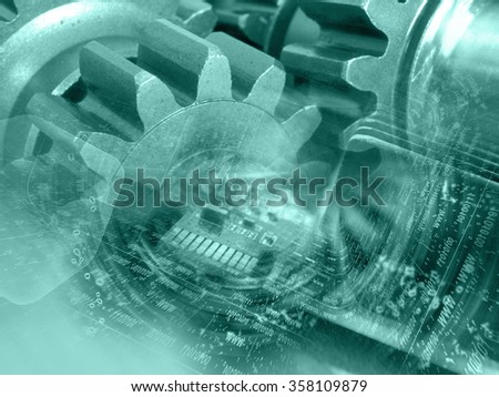 Gears, digits and device - abstract computer background in greens. - stock photo