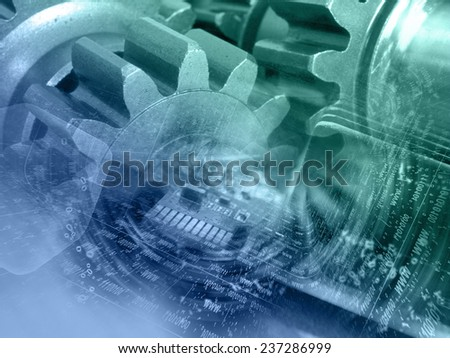 Gears, digits and device - abstract computer background in greens and blues. - stock photo