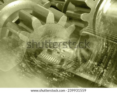 Gears, digits and device - abstract computer background in sepia. - stock photo