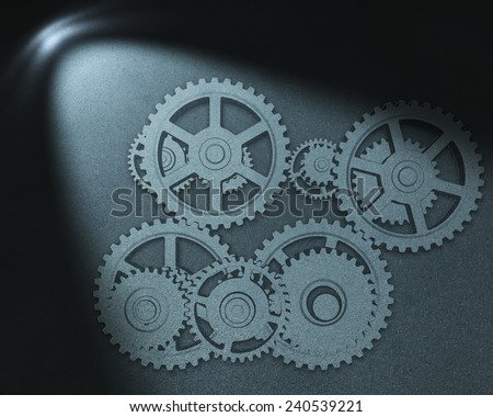 Gears drawing  in spot of light  - stock photo