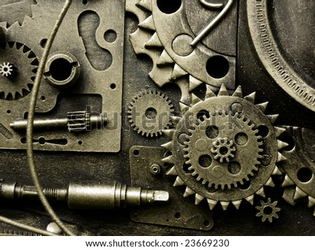 gears from old mechanism - stock photo