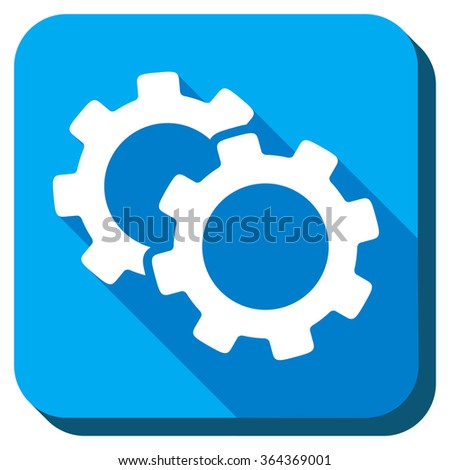Gears glyph icon. Style is rounded square light blue button with long shadows. Symbol color is white. - stock photo