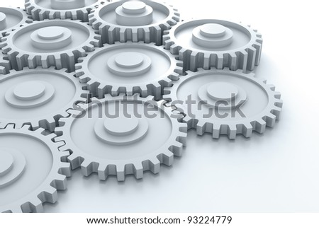 Gears in action on white background. (Digitally generated image)