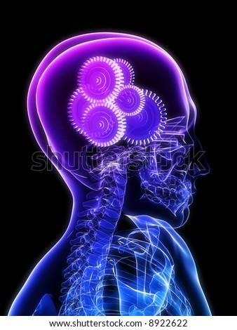 gears in brain - stock photo