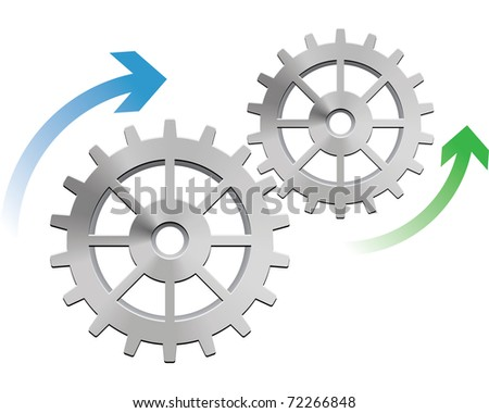 Gears in motion, business process concept - stock photo