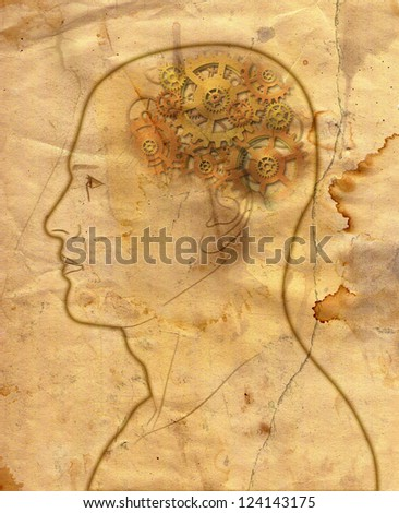 gears in the head - mechanical brain - intelligence - thinking - in grunge style - stock photo