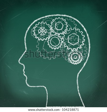 Gears in The Human Head drawing on the chalkboard