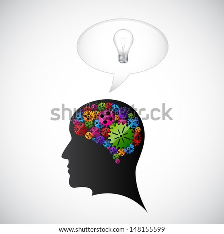 Gears in the mind profile. Raster version - stock photo