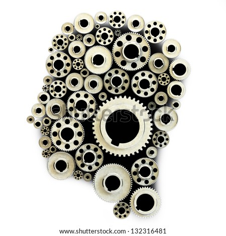 Gears in the shape of a human head - stock photo