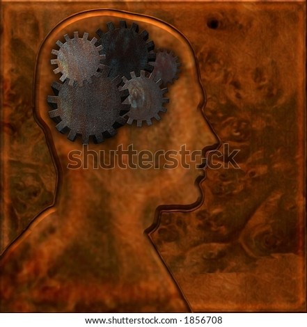 Gears inside head with mettalic background - stock photo