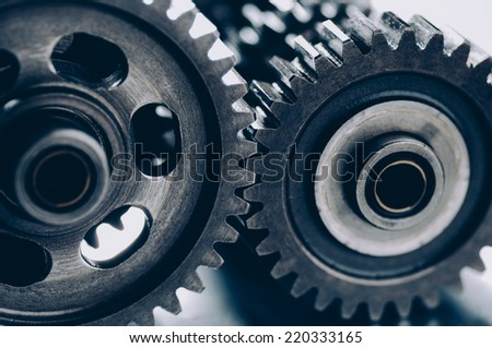 Gears Interlocking, selective Focus - stock photo