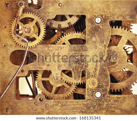 Gears of clockwork or other vintage mechanism  - stock photo