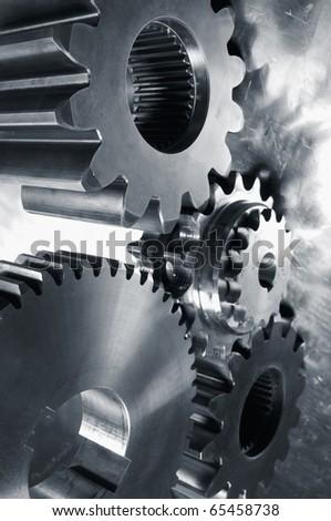 gears of steel and titanium, deep duplex toning version - stock photo