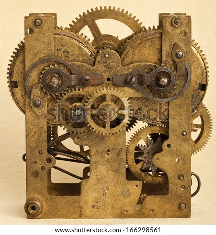 Gears of vintage mechanism - stock photo
