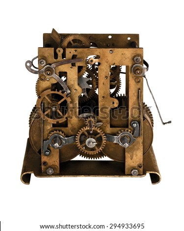 Gears of vintage mechanism , isolated - stock photo