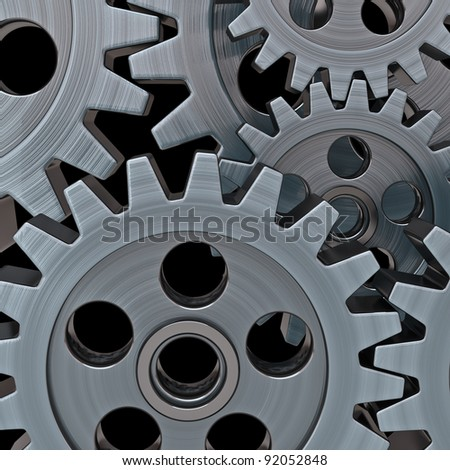 Gears on black background - stock photo