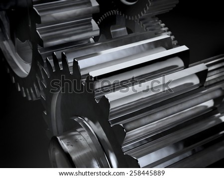 Gears on dark background. Abstract 3d illustration part of mechanism. - stock photo