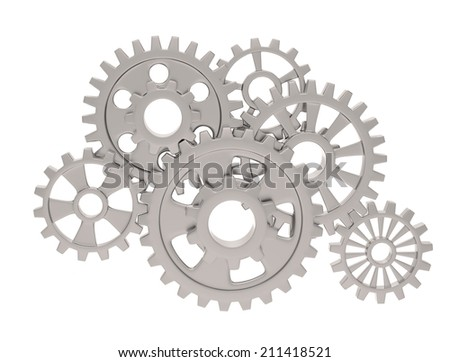 gears on white - stock photo