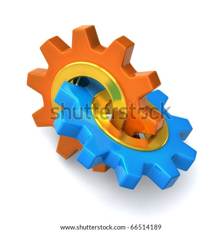 GEARS on white background - stock photo