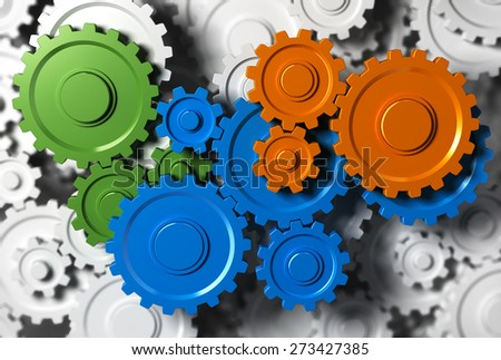 Gears or cogwheel working together. Concept image for team building or teamwork.  - stock photo