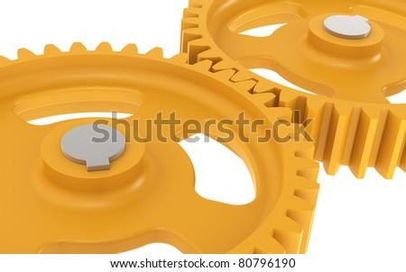 Gears. 2 Orange machine Gears, sparse - stock photo