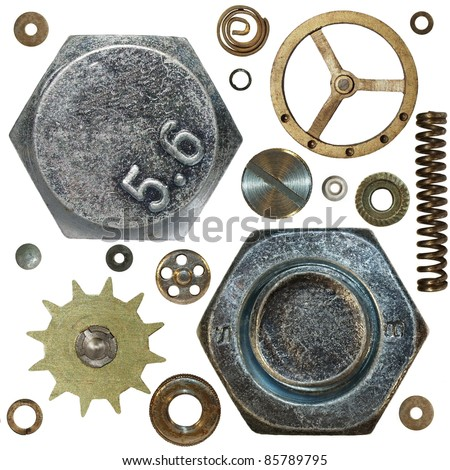 Gears, Screw heads, spring,  bolts, steel nuts, old metal, isolated on white background - stock photo